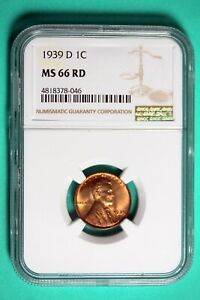 1939 D NGC MS66 RD Lincoln Wheat Cent #B25772
