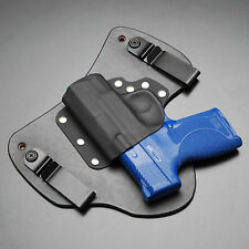 Shield 45 ACP Black Leather Kydex Gun Holster IWB Tuck Smith and Wesson