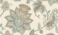 Wallpaper Traditional Aqua Gold & Bronze Jacobean Floral on Cream Faux String