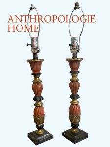 Anthropologie Wood Carved Table Lamps pair Set Of 2 Orange Black Gold $396 MSRP