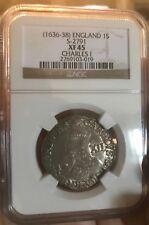 Great Britain 1636-38 Charles I. Shilling  NGC XF45