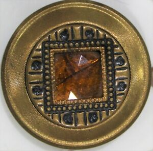 XLarge Antique Gay Nineties Button with Gold Square Center Jewel--99 CENT START