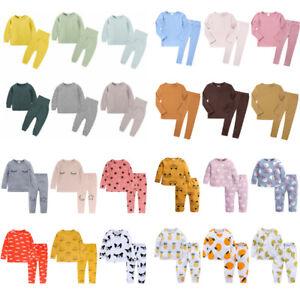 Kids Girls Boys PJs Plain Color Stylish Color Cotrast Pajamas Set Age 1-8 Years