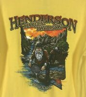Harley Davidson Henderson Nevada Mens Yellow Short Sleeve T Shirt Gold Size L