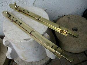 """Vintage Brass Pair Huge 14,5"""" Door Latch Slide Bolt Lock Shutter Door Hardware"""