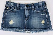 HOLLISTER Junior Denim Skirt Size 3 Blue Distressed Frayed Hem Decor Pockets
