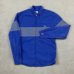 Lacoste Men's Long Sleeve Button Down Shirt Size 39 Slim Fit Striped Blue Cotton
