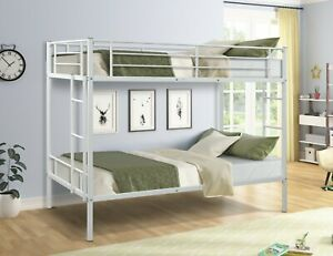 Modern Heavy Duty Twin Over Twin Metal bunk Bed with Two-Side Ladders USA