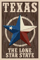 TEXAS THE LONE STAR STATE 7 X 10 Wood Sign made in the USA! Love & Laughter