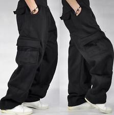 US3XL Black Mens Cargo Baggy Hip Hop Long Pants Trousers Athletic Sweatpants Sz