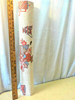 Vintage Retro Kitchen Wallpaper Red and Blue Teapot Flowers opened dbl roll