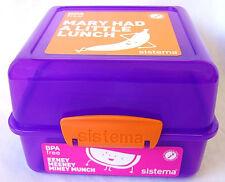 Sistema Purple 3 Compartment Klip It 1.4L Lunch Cube Box Container