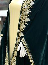Green Velvet Cape, Wedding Shawl, Kashmir Embroidered Shawls, Brides Capes, Wrap