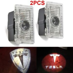 LED Door Light Welcome Projector HD For TESLA 3 X S Whitestar Bluestar Logo 2PCS