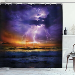 Nature Shower Curtain Epic Thunder Atmosphere Print for Bathroom