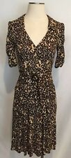 NWOT NANETTE LAPORE Sz 6 S DRESS BROWN TAN WHITE BLACK V NECK RUCHED SLEEVES