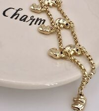 """Lucky Elephant Solid 14k Yellow Gold Charm Bracelet, Rollo Round Link , 8"""", New"""