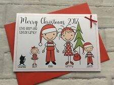 Pack of 5 Handmade Personalised Stick Family Christmas Xmas Cards (A5 Size)