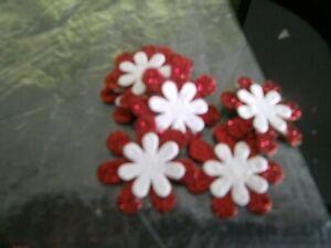 "7 x 1"" Glitter/Plain layered flower embellishments-Red/White-New**"