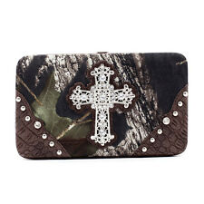 New Realtree Camouflage Women Leather Wallet Purse Card Bag w/ Rhinestone Cross