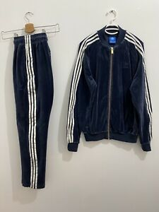 Adidas Superstar Tracksuit Velour Legend Ink White, Jacket Size M Pants Size S