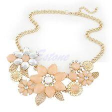 Fashion Womens Flower Choker Bib Statement Collar Chain Pendant Necklace Jewelry