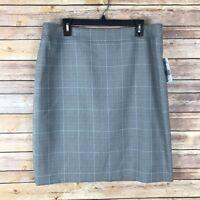 Tahari ASL Womens Skirt Woven Pencil Straight Black Gray Plaid Above Knee 16