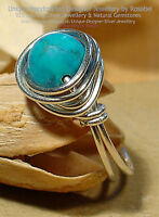 LOVELY TURQUOISE 925 SILVER RING - SIZE  Q - 8  All sizes