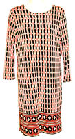 Michael Kors Women's 3/4 Sleeve Geometric Print Silky Stretch Dress Size Small