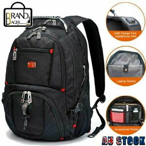 Swiss 17'' Laptop Backpack  Multifunctional Travel Camping USB Charge  bag AU