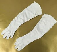 "Vintage Long Opera White Formal Opera Gloves 16"" Embroidery"