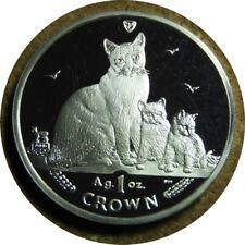 elf Iom Isle of Man 1 Crown 2014 Snowshoe Cat Kittens Silver Proof