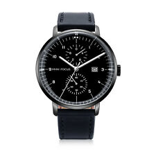 Mens Quartz Watch Black Leather Belt Aolly Case Young Style Luminous Date Casual