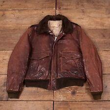 """Vintage pour homme SCHOTT NYC A2 Shearling Veste De Vol Doublure en fourrure marron 44"""" L R5449"""