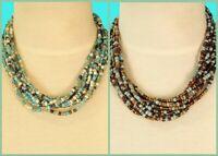 "Set of 2 16"" Gold Aqua Blue Multi Strand Handmade Seed Bead Statement Necklace"