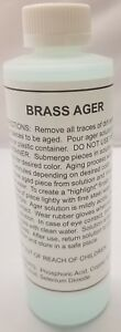 8 Ounce - BRASS AGER Darkening Solution antique vintage old dull patina rustic