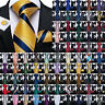 Mens Silk Tie Pink Black Gold Red Blue Green Purple Necktie Hanky Cufflinks Set