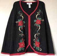 Heirloom Collectibles Women Plus Sz 26/28 Ugly Christmas Sweater Cardigan Zip Up