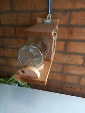 SQUIRREL FEEDER WOOD HANDMADE with canadian red cedar timber glass jar free p/(p
