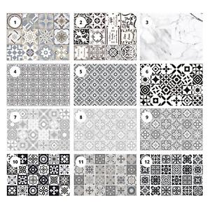 Mosaic Tile Sticker Kitchen Bathroom Black Grey Self Adhesive Vinyl Transfer DIY