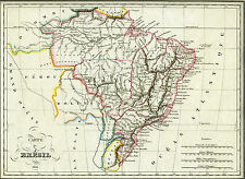 1836 Genuine Antique Hand Colored map of Brazil. Malte-Brun