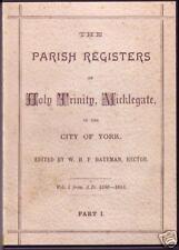 Genealogy - Holy Trinity Micklegate Registers, York