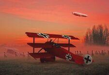 FOKKER DR 1 Red Baron Triplano attraverso l'Alba Nebbia