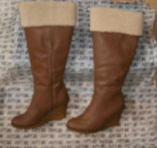 Apt9 Knee High F Leather Shearling Fur Trim Boot Wedge Platform Heel Shoe 7 $100