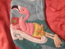 TROPICAL CHRISTMAS PINK FLAMINGO SURFING STOCKING
