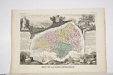 Carte département Seine Inférieure-Maritime Levasseur Géographe vers 1860