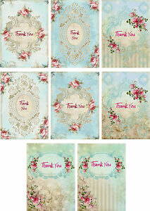Vintage inspired Thank You pink roses not cards with envelopes and organza bag