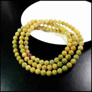 【KOOJADE】 Icy Emerald Yellow With Green Jadeite Beads necklace《108》《GradeA》