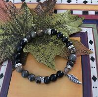 Essential Oil Diffuser Bracelet Onyx, Jasper Gemstones With Lava Rock Beads Gift