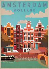 Vintage Amsterdam Pays-Bas A4 Poster Print
